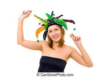 Woman in funny cap make a fool - Woman in funny cap with...