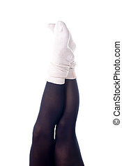 feminine legs with colored tights
