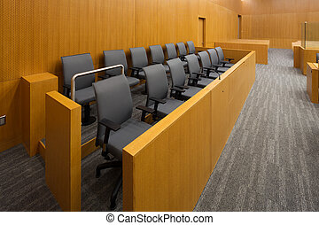 Jury box - Jury Box in a new court room