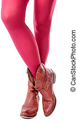 feminine legs with colored tights and shoes