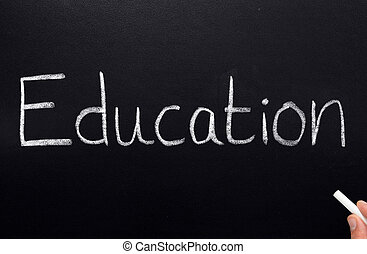 Educação, escrito, quadro-negro