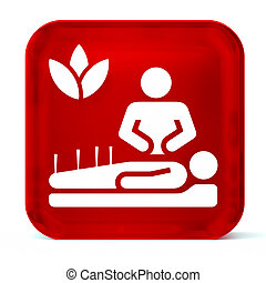 Alternative Medicine - Glass button icon with white health...
