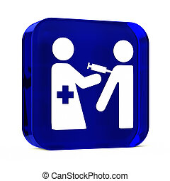 Immunization Services - Glass button icon with white health...