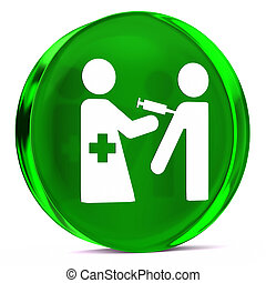 Immunization Services - Round glass icon with white health...