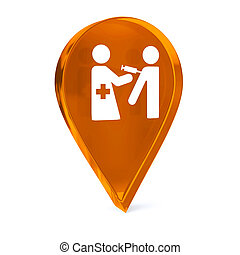 Immunization Services - Glass GPS marker icon with white...