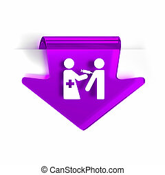 Immunization Services - Glass arrow page marker icon with...
