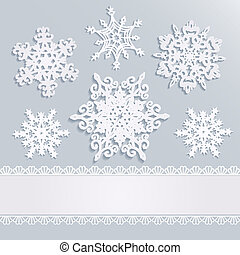 holiday background with snowflakes and white stripe with...