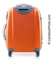 suitcase - Orange suitcase on a white background