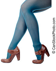 feminine legs with colored tights with shoes
