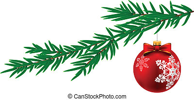 Christmas decorations - Christmas ball with white stripes...