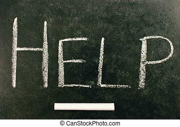 HELP, written on a blackboard