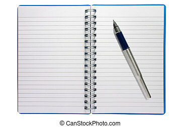 A small spiral notepad and fountain pen.