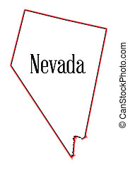 Nevada - An outline map of the state of Nevada over a white...