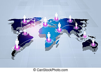 Global Connections - abstract technology business people...