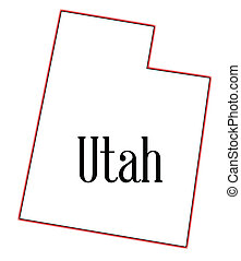Utah - Outline map of the state of Utah on a white...
