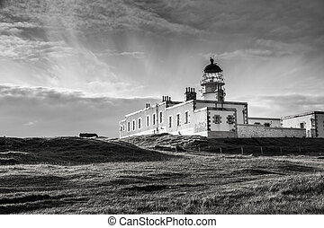 Neist Point Lighthouse BW - Lighthouse on the cliffs of...