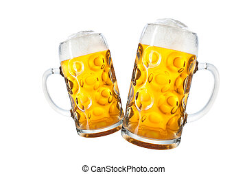 Mugs of beer - Glass mugs with beer isolated on white...