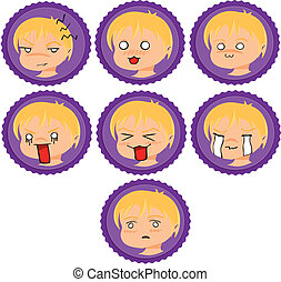 badges with manga faces 2