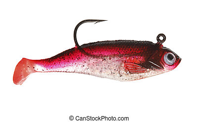 Jig - A red rubber fishing jig lure