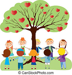 tree with hearts and childrens