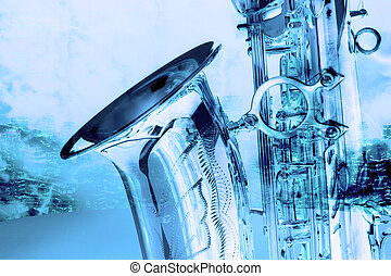 Sax - old beautiful saxophone in retro design look