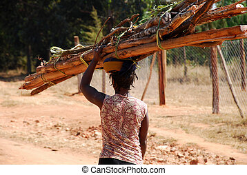 An African woman while carrying a load of wood - Tanzania