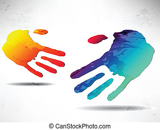 abstract handshake - Two abstract hands Handshake Colored...