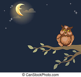 night owl - The illustration shows an owl that sits on a...