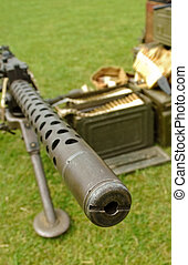 machine gun - looking down the barrel of a machine gun
