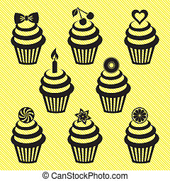 Cupcake icons - Various vector black cupcake silhouettes on...