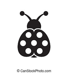Ladybird icon - Black vector cute seven spot ladybird icon...