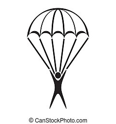 Parachute jumper icon - Black vector parachute jumper icon...