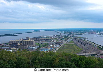 Aerial of Twin Ports in Duluth Superior - Aerial view of...