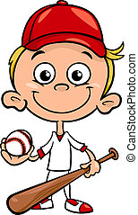 boy baseball player cartoon illustration