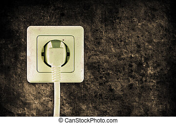 socket - old socket with plugged cable in retro design look