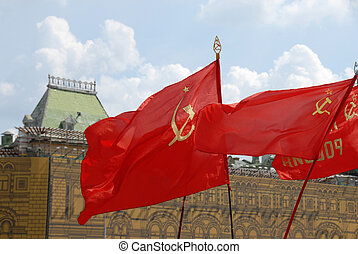 Red soviet flags on Red Square in Moscow - red soviet flags...