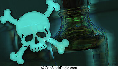 toxic fluid - bottle with toxical fluid and dangerous skull