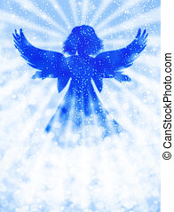 Angel in the sky on blue abstract light background