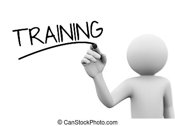 3d person writing training on transparent screen - 3d...