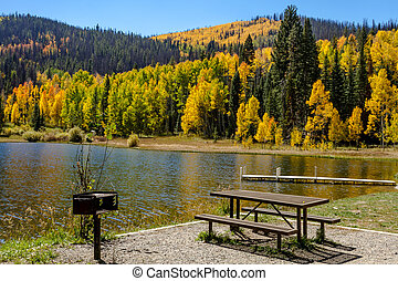 Fall in Steamboat Springs Colorado - Picnic area on shore of...