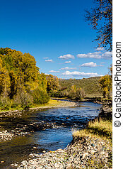 Fall in Steamboat Springs Colorado - Mountain stream with...