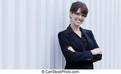 maturo, donna d'affari, sorridente
