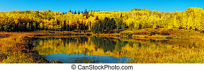 Fall in Steamboat Springs Colorado - Panorama image of...