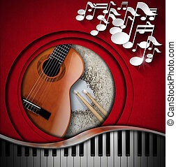 Musical Instruments Background - Red velvet background with...