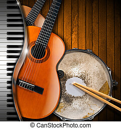 Musical Instruments Background - Two acoustic guitars, piano...