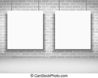 White Frames - Two blank white frames on brick wall, vector...