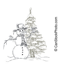 Snowman with hat and scarf holding Christmas gift and little...