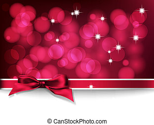 Christmas card. Red bokeh background with lights, bow and...