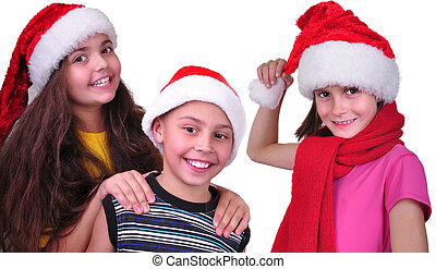 happy children friends  with Santa Claus red hats
