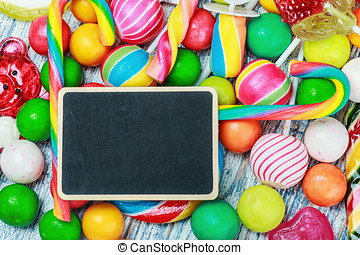 blackboard for writing greetings on candy and sweets